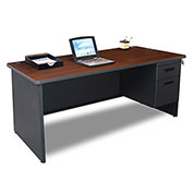 "Marvel® - Pronto® 66""W Single Pedestal Desk, Dark Neutral/Mahogany"
