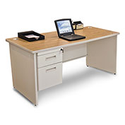 "Marvel® - Pronto® 66""W Single Pedestal Desk, Pumice/Oak"