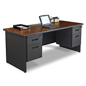 "Marvel® - Pronto® 72""W Double Pedestal Desk, Dark Neutral/Mahogany"