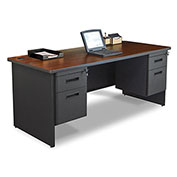 "Marvel® - Pronto® 72""W Single Pedestal Desk, Dark Neutral/Mahogany"