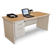 "Marvel® - Pronto® 72""W Single Pedestal Desk, Pumice/Oak"