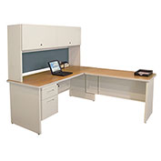"Pronto Desk With Return, 72""W x 78""D: Putty/Slate"