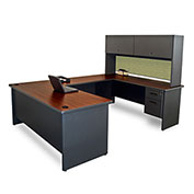 "Marvel® U Desk w/ Hutch - 72""W x 102""D - Dark Neutral/Peridot - Pronto Series"