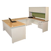 "Pronto U-Shaped Desk With Flipper Door Unit, 8'6""""W x 6'D: Putty/Peridot"