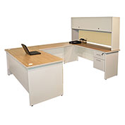 "Pronto U-Shaped Desk With Flipper Door Unit, 8'6""""W x 6'D: Putty/Beryl"