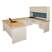 "Pronto U-Shaped Desk With Flipper Door Unit, 8'6""""W x 6'D: Putty/Slate"