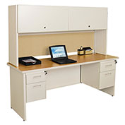 "Pronto 72"" Double File Desk With Flipper Door Cabinet, 72""W x 30""D: Putty/Beryl"
