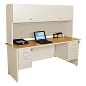 "Pronto 72"" Double File Desk With Flipper Door Cabinet, 72""W x 30""D: Putty/Chalk"