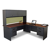 "Pronto Desk With Return and Pedestal, 72""W x 78""D: Dark Neutral/Peridot"