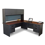 "Marvel® L Desk w/ Hutch - Double Pedestal - 72""W x 78""D - Dark Neutral/Slate - Pronto Series"