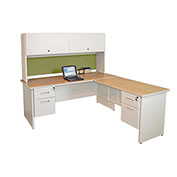 "Pronto Desk With Return and Pedestal, 72""W x 78""D: Putty/Peridot"