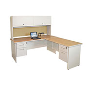 "Pronto Desk With Return and Pedestal, 72""W x 78""D: Putty/Beryl"