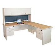 "Pronto Desk With Return and Pedestal, 72""W x 78""D: Putty/Slate"