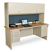 "Pronto 72"" Double File Desk Credenza Including Flipper Door Cabinet, 72""W x 24""D: Putty/Slate"