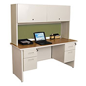 "Pronto 60"" Double File Desk Credenza Including Flipper Door Cabinet, 60""W x 24""D: Putty/Peridot"