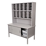 Marvel® - 50 Slot Literature Organizer with Riser and Cabinet -Slate Gray