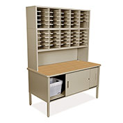 "Marvel® 50 Adjustable Slot Literature Organizer with Riser and Cabinet, 84""H x 60""W, Putty"