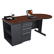 "Marvel® - 75""W Teachers Conference Desk with Bookcase, Dark Neutral/Mahogany"