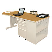 "Marvel® - 75""W Teachers Conference Desk with Bookcase, Pumice/Solar Oak"