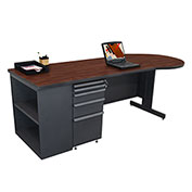 "Marvel® - 87""W Teachers Conference Desk with Bookcase, Dark Neutral/Mahogany"
