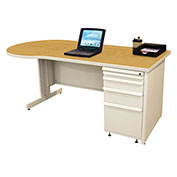 "Marvel® - 60""W Teachers Conference Desk, Pumice/Solar Oak"