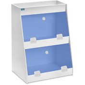 "TrippNT™ White PVC Angled Triple Safety Shelf Station with Blue Door, 12""W x 9""D x 16""H"