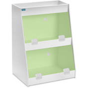 "TrippNT™ White PVC Angled Triple Safety Shelf Station with Green Door, 12""W x 9""D x 16""H"