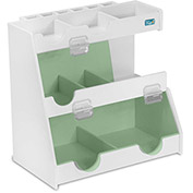 "TrippNT™ White PVC Top Loader Weighing Organizer with Green Acrylic Doors, 13""W x 8""D x 12""H"