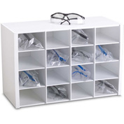 """TrippNT 50059 16 Compartments Safety Glasses Holder, PVC, White, 18""""W x 12""""H x 8""""D"""