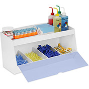 "TrippNT™ Storage Bin with 4 Compartments and 1 Shelf, Blue Acrylic Door, 24""W x 10""D x 13""H"