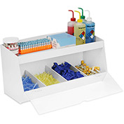 "TrippNT™ Storage Bin with 4 Compartments and 1 Shelf, Clear Acrylic Door, 24""W x 10""D x 13""H"