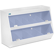 "TrippNT™ White Lab Storage with 10 Bins and 1 Shelf, Blue Acrylic Doors, 24""W x 11""D x 16""H"