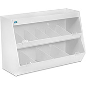 "TrippNT™ White Lab Storage with 10 Bins and 1 Shelf, Clear Acrylic Doors, 24""W x 11""D x 16""H"