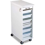 "TrippNT™ White Polyethylene Lockable Narrow Lab Cart, 12""W x 19""D x 36""H"