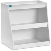 "TrippNT™ White PVC Angled Triple Safety Shelf Station, 12""W x 9""D x 12""H"