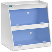 "TrippNT™ White PVC Angled Triple Safety Shelf Station with Blue Door, 12""W x 9""D x 12""H"