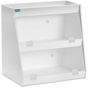 "TrippNT™ White PVC Angled Triple Safety Shelf Station with Clear Door, 12""W x 9""D x 12""H"