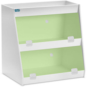 "TrippNT™ White PVC Angled Triple Safety Shelf Station with Green Door, 12""W x 9""D x 12""H"
