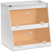"TrippNT™ White PVC Angled Triple Safety Shelf Station with Orange Door, 12""W x 9""D x 12""H"