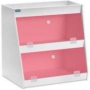 "TrippNT™ White PVC Angled Triple Safety Shelf Station with Red Door, 12""W x 9""D x 12""H"