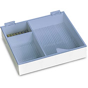 "TrippNT™ White PVC 6"" & 9"" Pipette Box with Blue Lid, 12""W x 11""D x 3""H"
