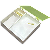 "TrippNT™ White PVC 6"" & 9"" Pipette Box with Green Lid, 12""W x 11""D x 3""H"