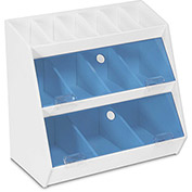 "TrippNT™ White PVC Lab Storage Bin with 13 Compartments, Blue Acrylic Door, 12""W x 7""D x 12""H"