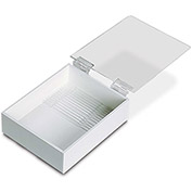 "TrippNT™ White PVC 6"" Pipette Box with Clear Lid, 7""W x 9""D x 3""H"