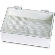 "TrippNT™ White PVC 9"" Pipette Box with Clear Lid, 10""W x 9""D x 3""H"