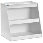 "TrippNT™ White PVC Angled Triple Safety Shelf Station, 24""W x 9""D x 20""H"
