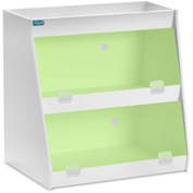 "TrippNT™ White PVC Angled Triple Safety Shelf Station with Green Door, 24""W x 9""D x 20""H"