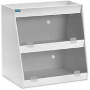 "TrippNT™ White PVC Angled Triple Safety Shelf Station with Smoke Door, 24""W x 9""D x 20""H"
