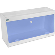 "TrippNT™ White PVC Angled Double Safety Shelf Station with Blue Door, 24""W x 9""D x 12""H"