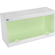 """TrippNT™ White PVC Angled Double Safety Shelf Station with Green Door, 24""""W x 9""""D x 12""""H"""